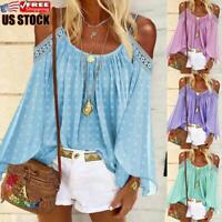 Women's Casual Cold Shoulder Crochet T-Shirt Long Sleeve Loose Tunic Blouse Tops