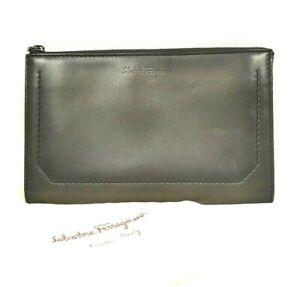 Salvatore Ferragamo Dark Olive Calf Leather Logo Embossed Clutch Pouch UNISEX