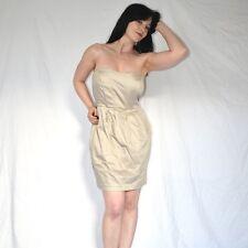 elegantes ETUIKLEID in beige* 38 trägerloses MINIKLEID* Cocktailkleid Partykleid