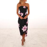 Summer Women Sexy Off Shoulder Boho Dress Printed Beach Sundress Sexy Maxi Dress