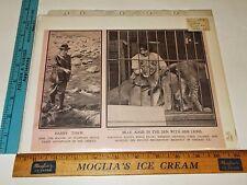 Rare Antique Orig VTG 1914 Police Gazette Articles Harry Thaw & Lions Art Print