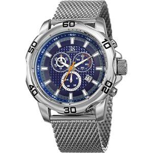 Joshua & Sons JX123SSBU Chronograph Date Complication Mesh Bracelet Men's Watch