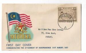 First Day Cover FDC Merdeka Tunku Abd Rahman 31st Aug 1957 Penang Stamps Malaya