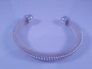 Silver 925 Rope Twist Centre & Fine Mesh Design Ladies Bangle