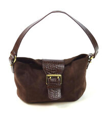 fa2469803e RALPH LAUREN Brown Suede   Embossed Faux Leather Shoulder Bag Satchel Purse  S
