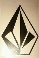 large Volcom stone surfboard skateboard car campervan sticker 100mm black,.