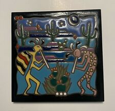 "6"" Ceramic Tile Trivet Masterworks Handcrafted Southwestern Kokopelli Design GUC"