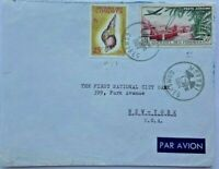 COMORES / COMOROS 1964 COVER WITH 25 F SHELL & 50 F AIRMAIL WITH MORONI POSTMARK