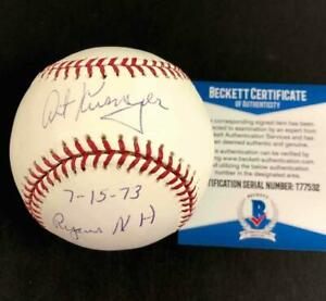 "Art Kusnyer ""7-15-73 Nolan Ryan's NH"" signed MLB Baseball ~ Beckett BAS COA"