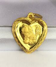 24K Solid Gold Cute Tiger Animal Sign Heart Shape Charm/ Pendant, 2.19Grams
