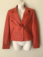 Truth and Pride Women's Perforated Soft Leather Biker Moto Jacket Orange S