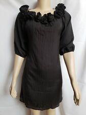 Jenny Han Designer Size Small Black Tunic Dress ruffled Flowers on collar $ 255
