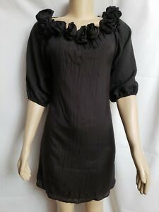 Jenny Han Designer Size Small Black Women' Tunic Dress ruffled Flowers on collar