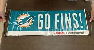 """MIAMI DOLPHINS - Retractable PULL-OUT """"GO FINS"""" SIGN BANNER PENNANTS"""