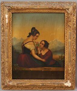 19thC Antique Victorian Romantic Women w/ Rose & Landscape Oil Painting NR