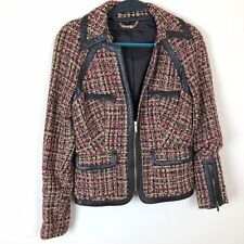 Bebe Blazer Black Beige Pink Tweed Size 6 Leather Look Trim Zipper Sleeves Lined