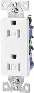 Eaton TR1107W Tamper Resistant Decorator Duplex Receptacle with 15-Amp, 125-Volt