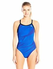 NWT! ADIDAS WOMENS SHOCK ENERGY VORTEX INFINITEX+ 1-PC SWIMSUIT, BLU 32 LIST $74