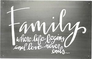 """Primitives by Kathy Hand Lettered Family Metal Sign Wall Art """"Where Life Begins"""""""