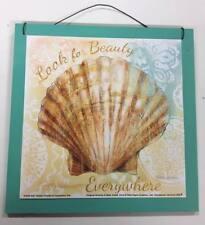 Look for Beauty everywhere seashell wood sign beach house decorations wall art