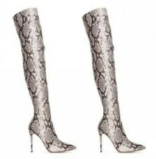 Women Snakeskin Pattern Stilettos High Heel Pointy Toe Over The Knee Thigh Boots