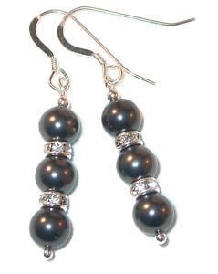 BLACK Pearl Earrings Swarovski Elements Sterling Silver Dangle