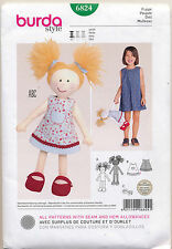 "BURDA SEWING PATTERN 6824 16"" / 40CM CLOTH/RAG DOLL W/ PATTERN FOR DRESS & SHOES"