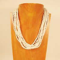 "18"" Multi Strand Shiny Pearl White Color Handmade Seed Bead Statement Necklace"