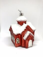 Handblown Glass holiday Church Christmas Tree Ornament Red White