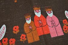 The Wisemen & Shepherds Of The Nativity! Vtg European Print Table Runner