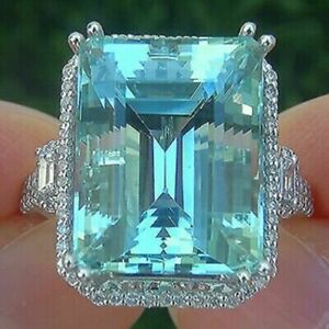 Huge 25ct Emerald Cut Aquamarine Diamond Wedding Cocktail Ring In 925 Silver