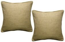 Pack of 2 Ex-Chainstore Woven Geometric Design Cushion Covers Ochre / White