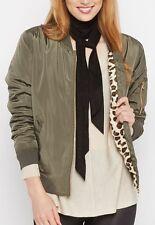 New Leopard Fleece Lined Bomber Jacket Olive Green Pockets Size Large