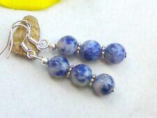 Ohrringe SODALITH 925er Silber Ohrhaken Edelstein Perlen Ohrhänger blau/weiß 8mm