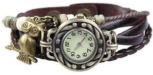 Eule Quarz Mode weben Wrap-around-Leder-Armband-Frauen-Armbanduhr