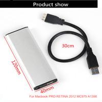 USB 3.0 Enclosure Adapter SSD Case for Macbook PRO RETINA 2012 MC975 A1398 STS