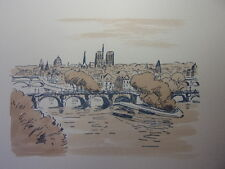 54 /  AQUARELLE PARIS /Le Vert Galand et Le pont Neuf