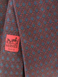 MEN'S Vintage HERMES Silk Navy Blue Burgundy Printed Tie Classic Size