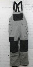 New 686 Mens Authentic Hot Lap Bib Snowboard Pants Large Grey Pincord Colorblock