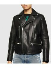 Men's Genuine Lambskin Trendy Cropped Leather Men Biker Jacket