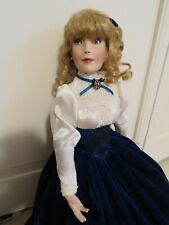 Victorian High Fashion Doll dressed in Royal Blue Velvet and Lace, 19 inches