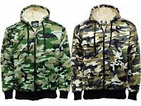 Brand New Mens Camo Camouflage Army Fur Lined Military Zip Hoodie Hooded Jacket