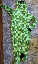 Boy's Youth Minecraft Creeper Hooded Pajamas Union Suit Size 14-16 Euc 14 16