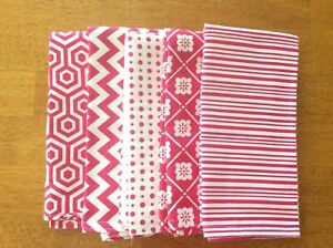 "Cloth dinner napkins reversible set of five approx. 17"" x 17"" handmade"