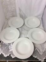 Set Of 5 Brilliant White Rimmed Soup Bowls Fine Bone China Cereal /Dessert Bowls