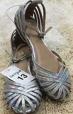 Cat & Jack Silver Color Sandals  With Ankle Strap  Size 13  S62