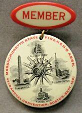 1921 MASS. STATE FIREMEN'S ASSOC. Boston large 2 piece badge pinback button ^