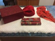 Vintage Red Rectangle Hatbox,red Glenover Hat,mulicoloe Clutch Purse,silk Scarf