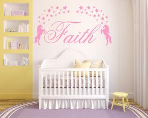 Personalised Name Unicorns Vinyl Wall Art Sticker, Stars, Bedroom Nursery Kids