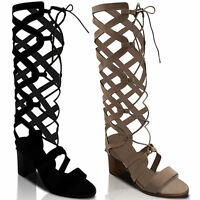 NEW LADIES TALL MID BLOCK HEEL GLADIATOR KNEE LACE UP CUT OUT BOOTS SHOES SIZE